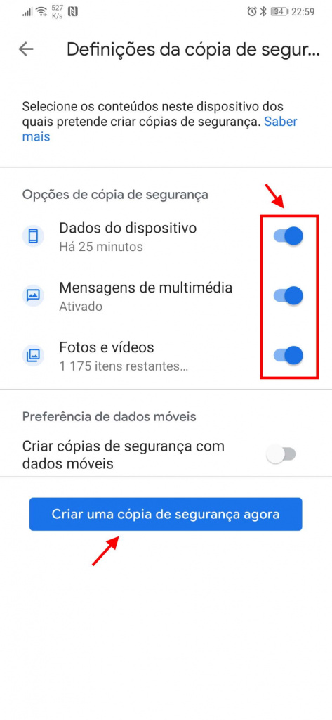 Google One backups Android dados