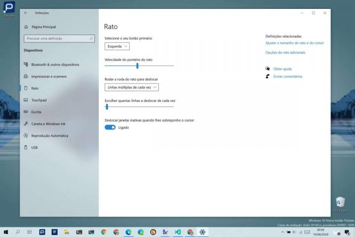 Windows 10 rato periférico configurar utilizador
