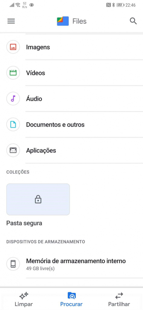 Android Files protegida segura pasta