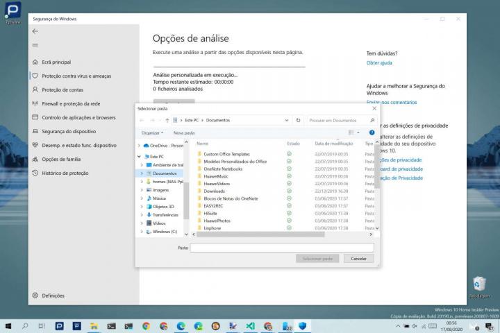 Windows 10 analisar pasta Windows Defender segurança