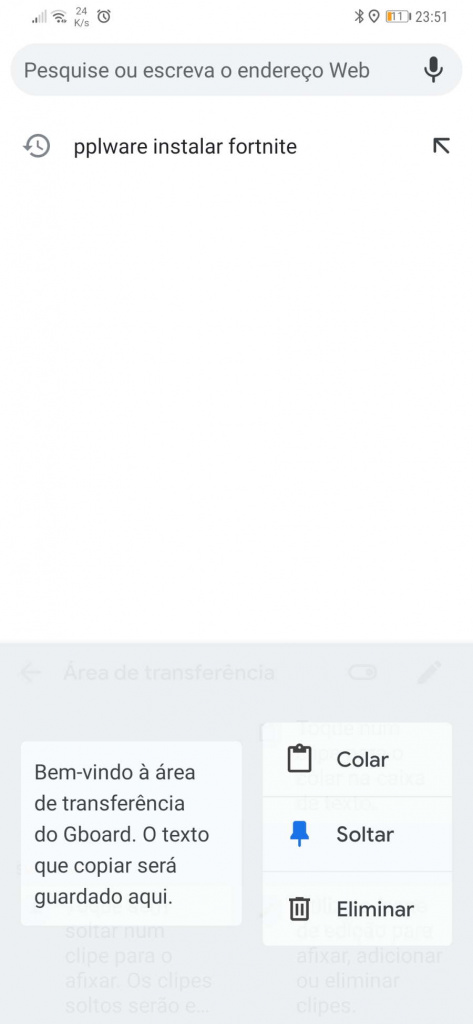 Google Android clipboard keyboard