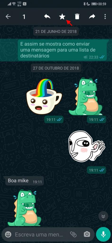 WhatsApp mensagens favoritas conversa contacto