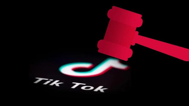 Ilustração TikTok em tribunal contra presidente dos Estados Unidos, Donald Trump