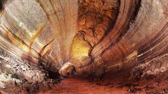Ilustração dos tubos de lava em Marte