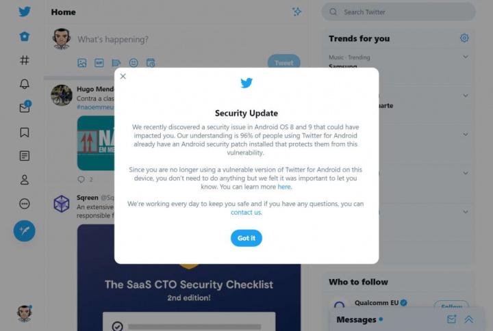 Twitter Android falha segurança dados