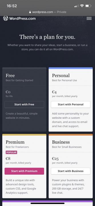 Imagem da app para iOS do Wordpress com indicações de compras fora da app