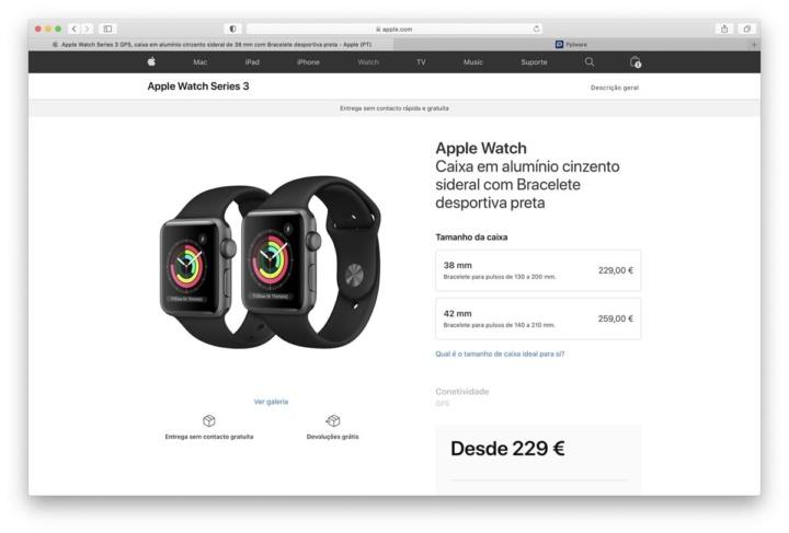 Imagem Apple Watch Series 3 com watchOS 7