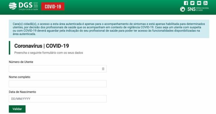 COVID-19: Registo de sintomas e validação das SMS enviadas