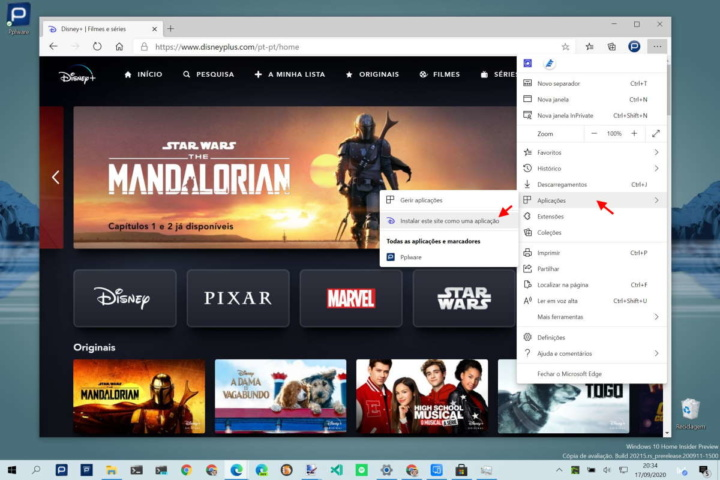 Disney+ browser PWA Windows 10 macOS