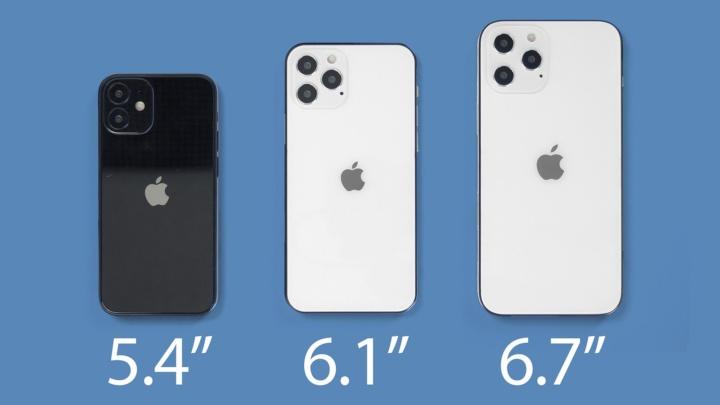 Imagem do novo iPhone 12 nas suas variáveis de tamanho
