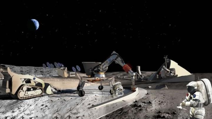 Ilustração da exploração mineira da Lua