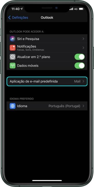 Imagem colocação email Outlook como app predefinida no IOS