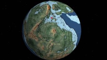 Imagem mapa interativo da Terra que mostra o planeta desde há 750 milhões de anos