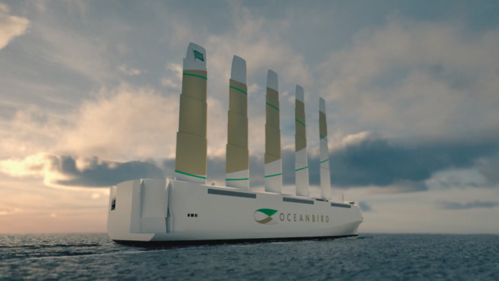Oceanbird: consórcio sueco revela novo transportador eólico de automóveis