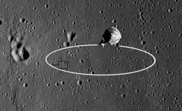 Imagem da área que a Apollo 11 calculou para pousar na lua