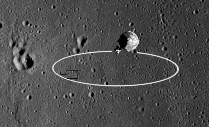 Imagem da área que a Apollo 11 tinha calculado para aterrar na lua