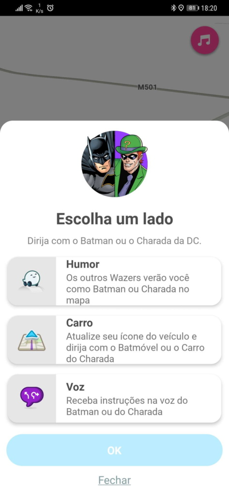 Waze Batman Joker DC Comics carro