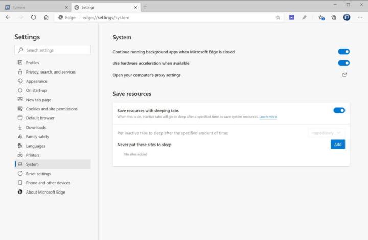 Edge Microsoft recursos adormecer separadores