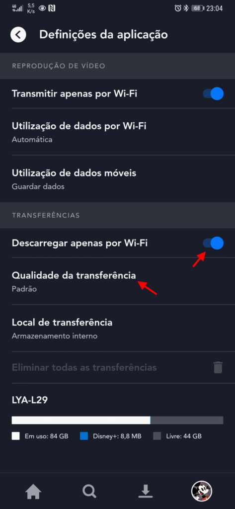 Disney+ smartphone dados app streaming
