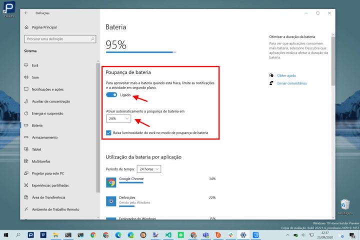 Windows 10 bateria energia gestão PC