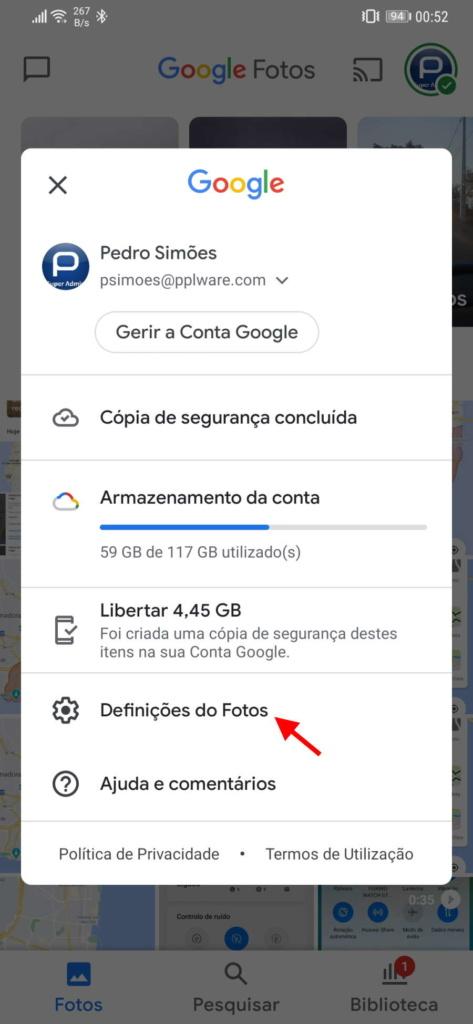 Android Google Fotos configuração cópias segurança