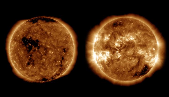 Imagem marchas do Sol vigiadas pela NASA