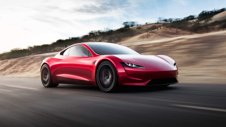 Imagem do Tesla Roaster apresentado por Elon Musk