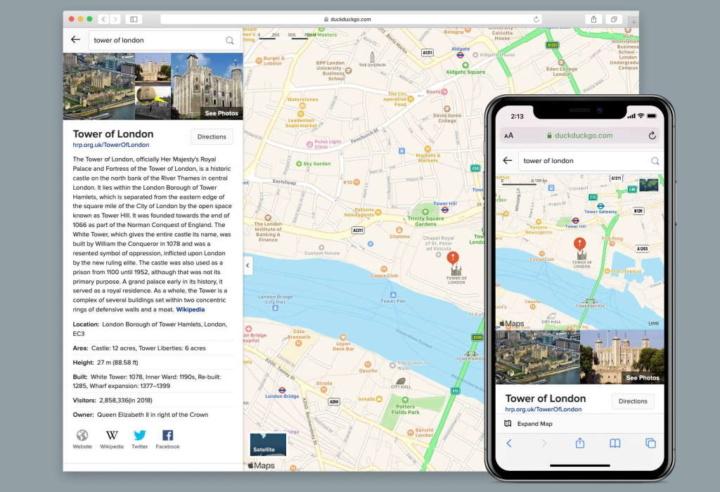 DuckDuckGo rotas mapas privacidade segurança