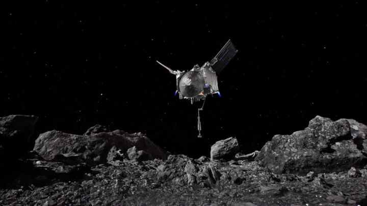 Imagem da nave OSIRIS-REx da NASA a tocar no asteroide Bennu.