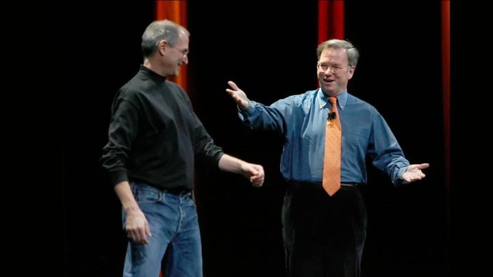 Imagem Steve Jobs e o presidente-executivo do Google, Eric Schmidt