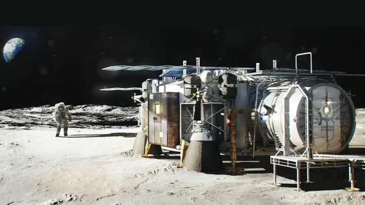 Imagem da base da Lua do programa Artemis da NASA
