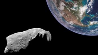 Ilustração da rota do asteroide Apófis em direção ao planeta Terra