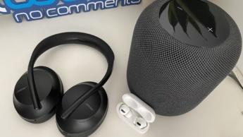 Imagem dispositivos áudio Apple e Bose