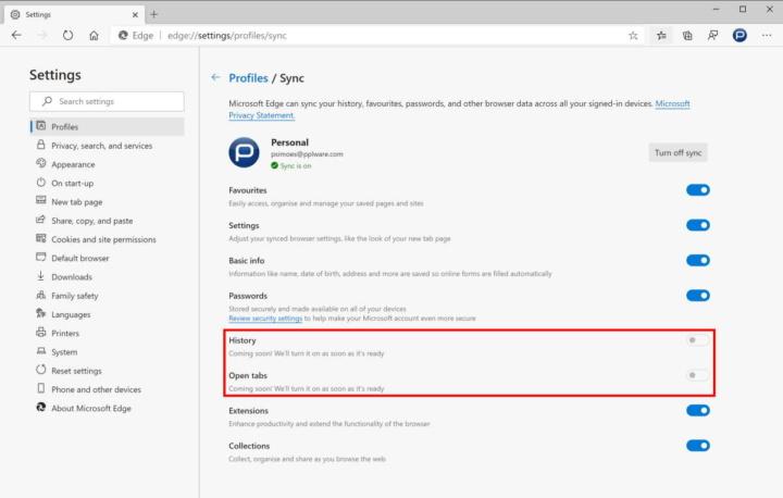 Edge Microsoft sincronização separadores histórico