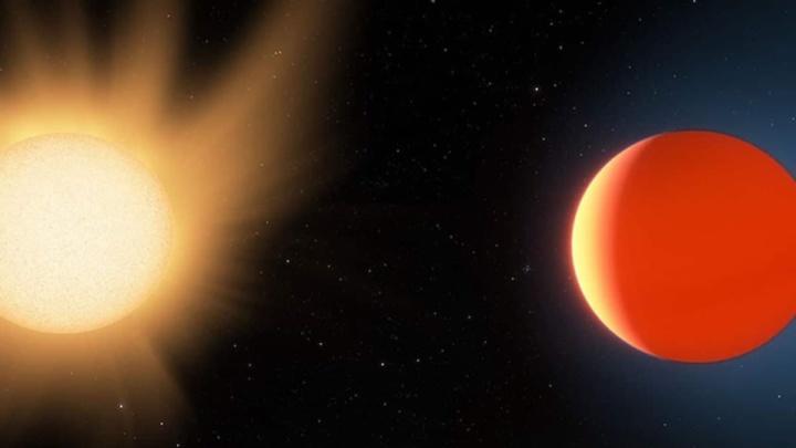 Ilustração de exoplaneta com atmosfera perto da sua estrela