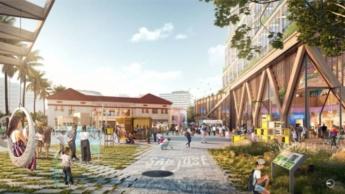 Projeto Downtown West com passagem para pedestres e edifícios.