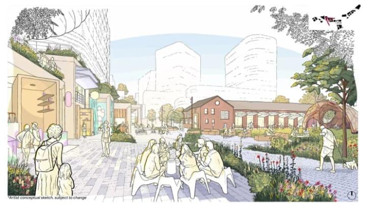 Projeto Downtown West com espaços públicos de lazer.