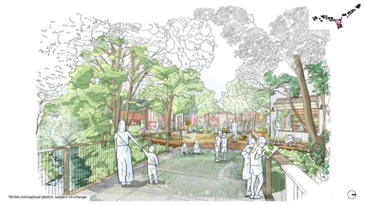 Projeto Downtown West com espaços verdes e de convívio.