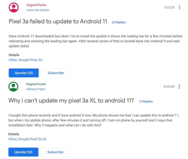 Android 11 Google Pixel atualização problema