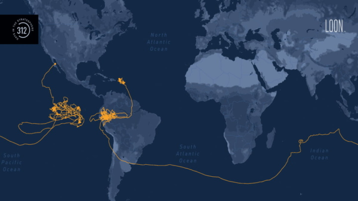 Mapa percurso do balão de teste