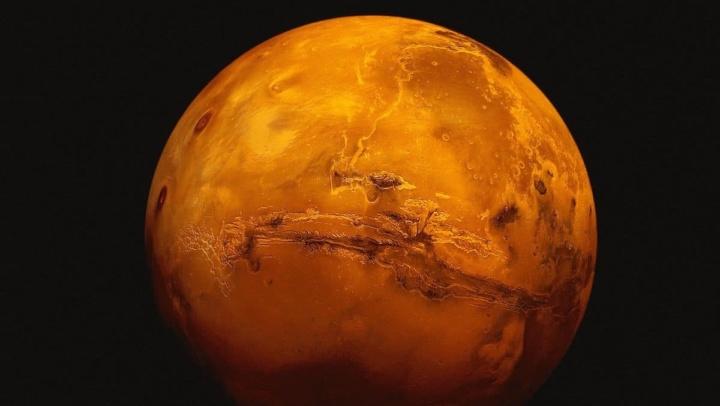 Imagem do planeta Marte visto da Terra