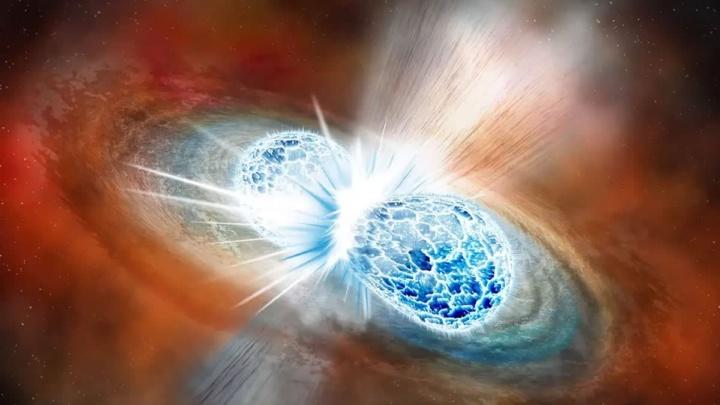 Imagem estrelas de neutrões a colidirem