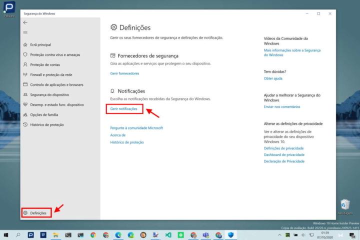 notificações segurança Windows 10 alertas utilizadores