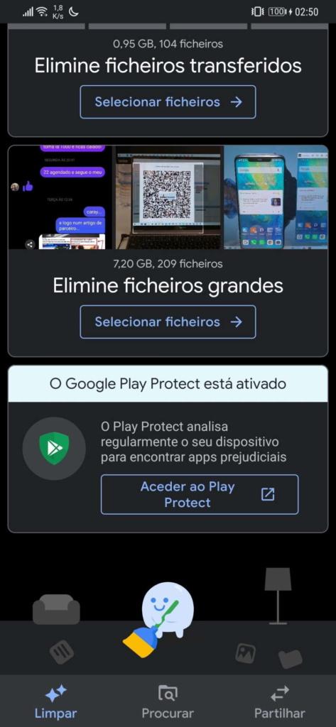 Android espaço smartphone Files Google
