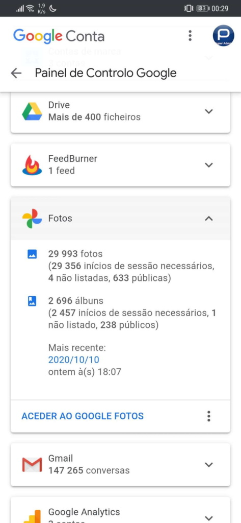 Gerenciamento de ocupação de dados da conta do Google