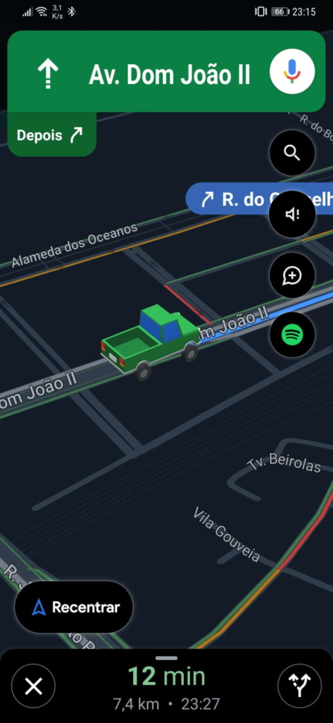 Google Maps ícone carro viagem