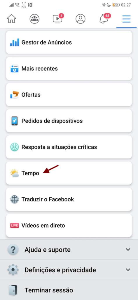 Facebook previsão tempo ferramentas social