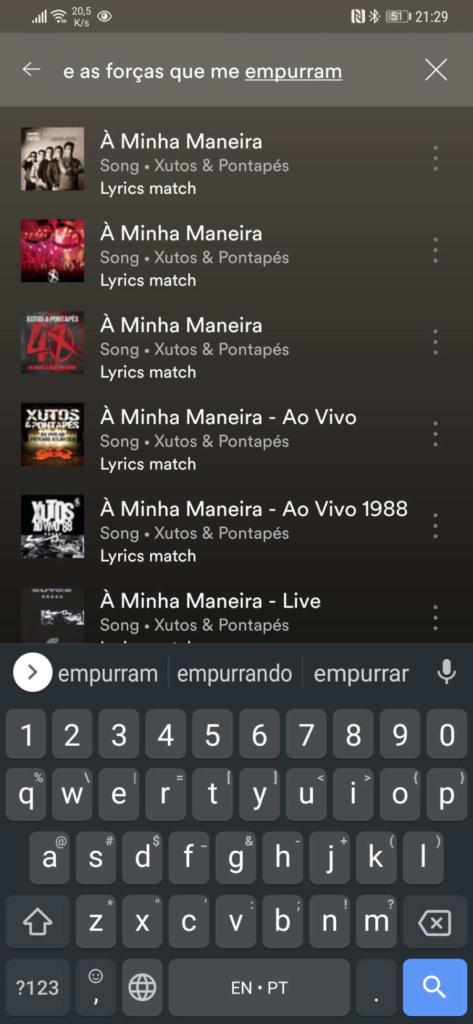 Spotify letra pesquisa música nome