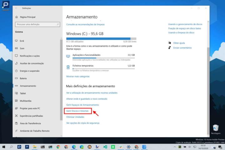 Windows 10 disco temperatura app informação