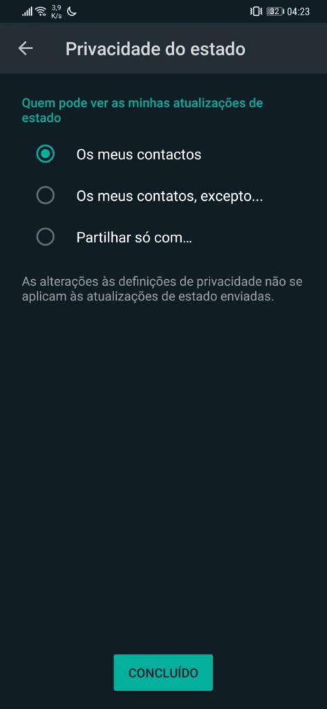 WhatsApp partilhar informação privacidade opções